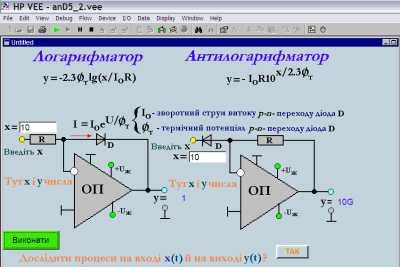 Логарифматор / Антилогарифматор на базі операційного підсилювача