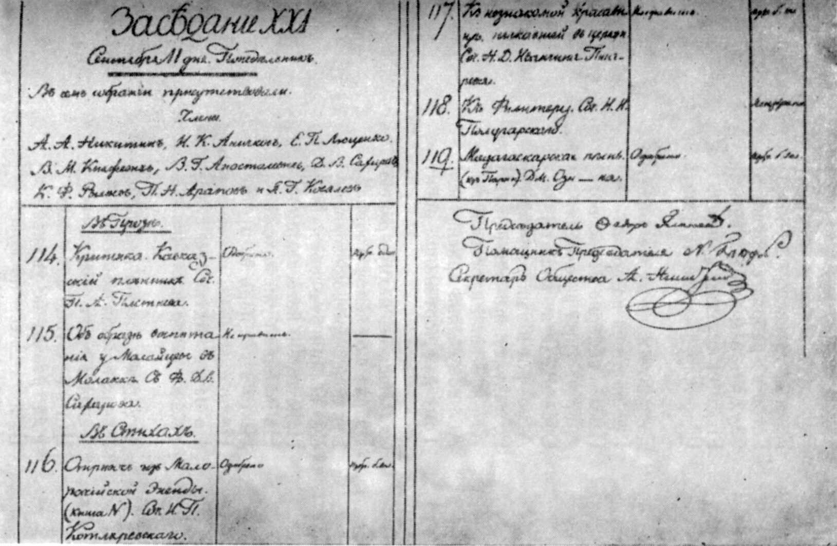 Запис до товариства (1821 р.) -…
