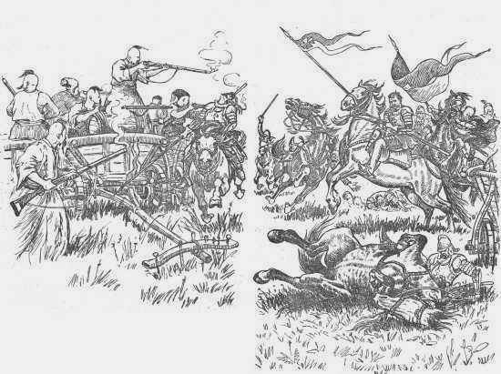 Поляки атакуют лагерь Кривоноса. Рис. И. Ф. Манца (1963)
