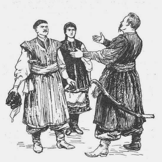 Хмельницкий, Морозенко и Ганна. Рис. И. Ф. Манца (1963)