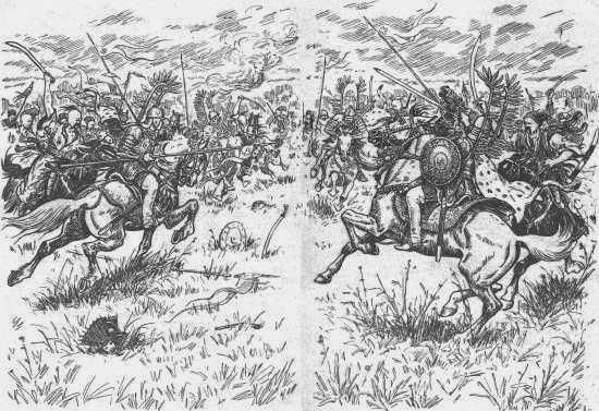 Битва казаков с польским войском. Рис. И. Ф. Манца (1963)