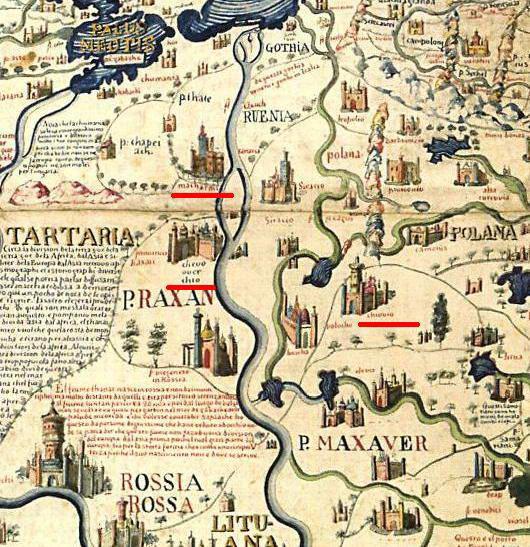 Рис. 1. Три позначення Києва на карті Фра Мауро 1459 року [3]