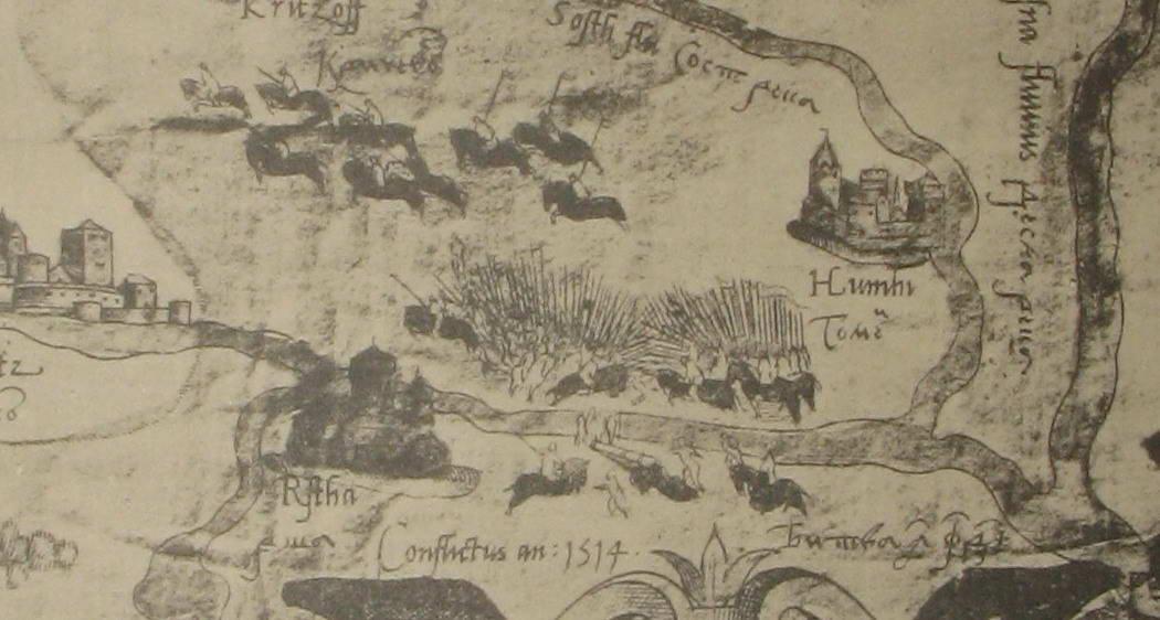 Рис. 3. Зображення битви під Оршею на карті А. Віда, 1535−1542]