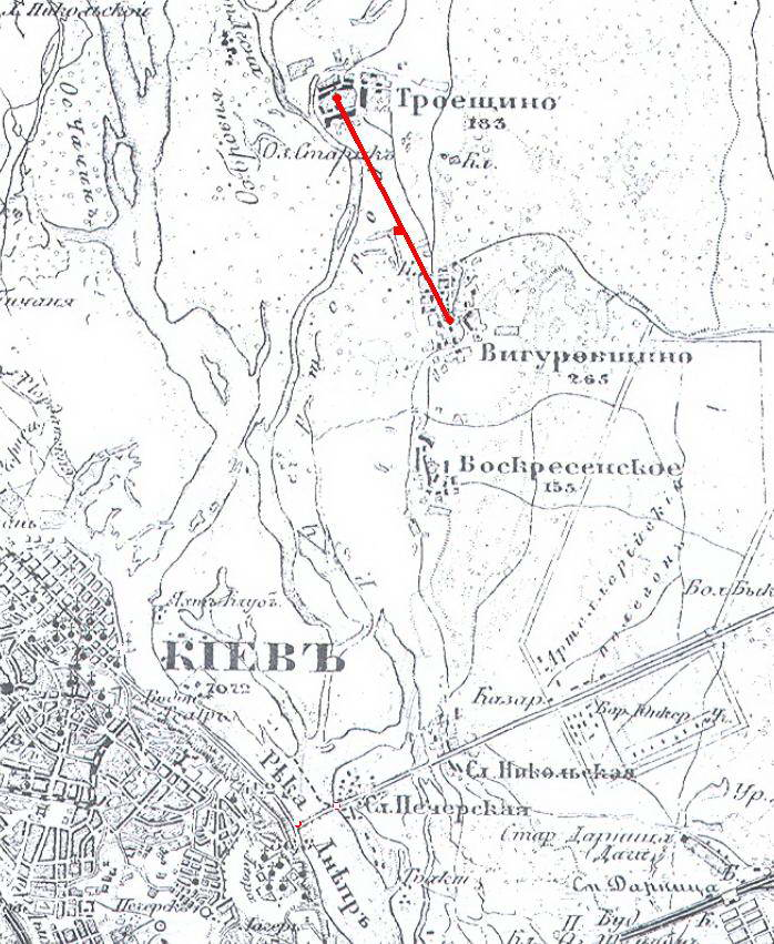 Рис. 4. Городище Симеона Олельковича на 3-х верстній карті