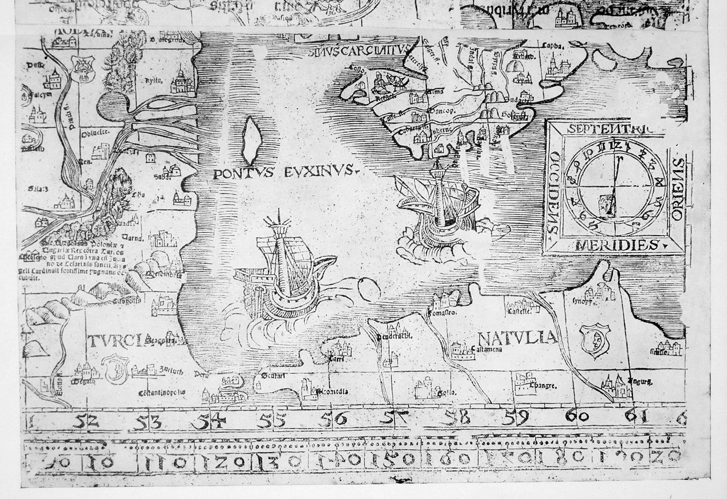 Рис. 1. 'Нижній' фрагмент карти Сарматії Бернарда Ваповського, 1528 (?)