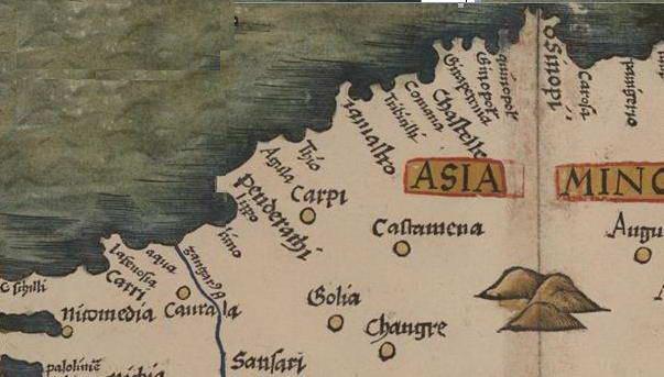 Рис. 2. Узбережжя Анатолії на карті Tabula Nova Asie Minoris, Geography, 1513