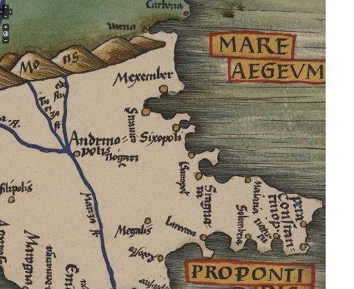 Рис. 3. Західне узбережжя Чорного моря на карті Tabula Moderna Borsine, Servia, Greciae et Sclavonie, Geography, 1513