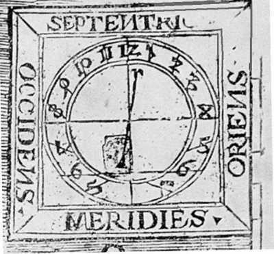 Рис. 5. Сонячний годинник з магнітним компасом та вказанням на компасі магнітного схилення