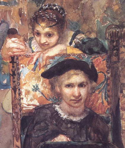 Гамлет (автопортрет) и Офелия, 1883 г.