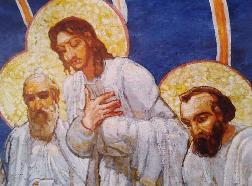 Апостолы Иоанн, Лука и Андрей в росписи «Сошествие св. Духа». 1884 г.