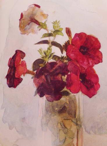 Петунии в стакане. 1886 г.