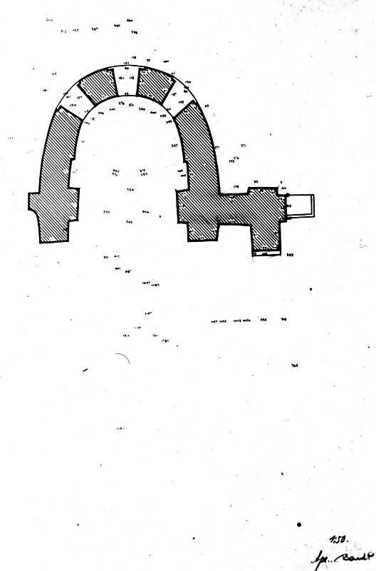 Остер. Церква св.Михаїла. План збережених стін церкви. Креслення 1940-х рр.