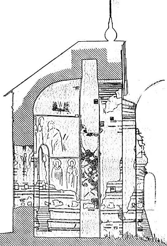 Остер. Церква св.Михаїла. Розріз апсиди. Креслення П. Покришкіна. Початок ХХ ст.