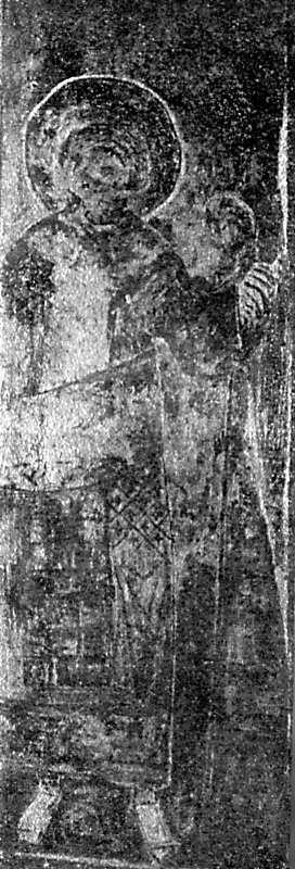Остер. Церква св.Михаїла. Архангел на південному схилі конхи. Акварель Е. Н. та А. В.Половцевих. 1893 р.