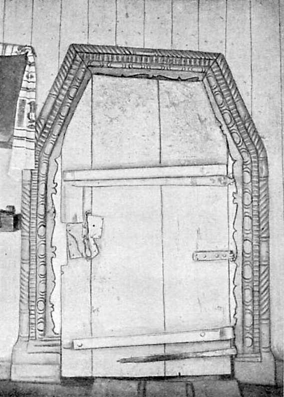 Дверь Покровской церкви. С. Тальянки Уманского уезда, 1764 г.