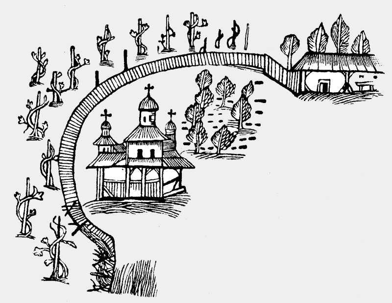 Церковь Рождества Пресв. Богородицы на плане Кальнофойского 1638 г.