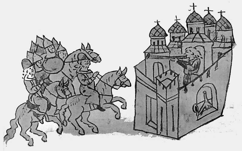 Изображение пятиглавого храма в Радзивиловской летописи
