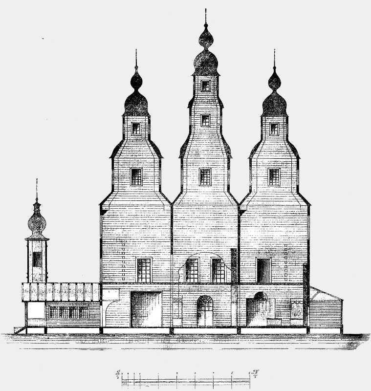 Разрез Николаевской соборной церкви в Медведовском монастыре Чигиринского уезда.