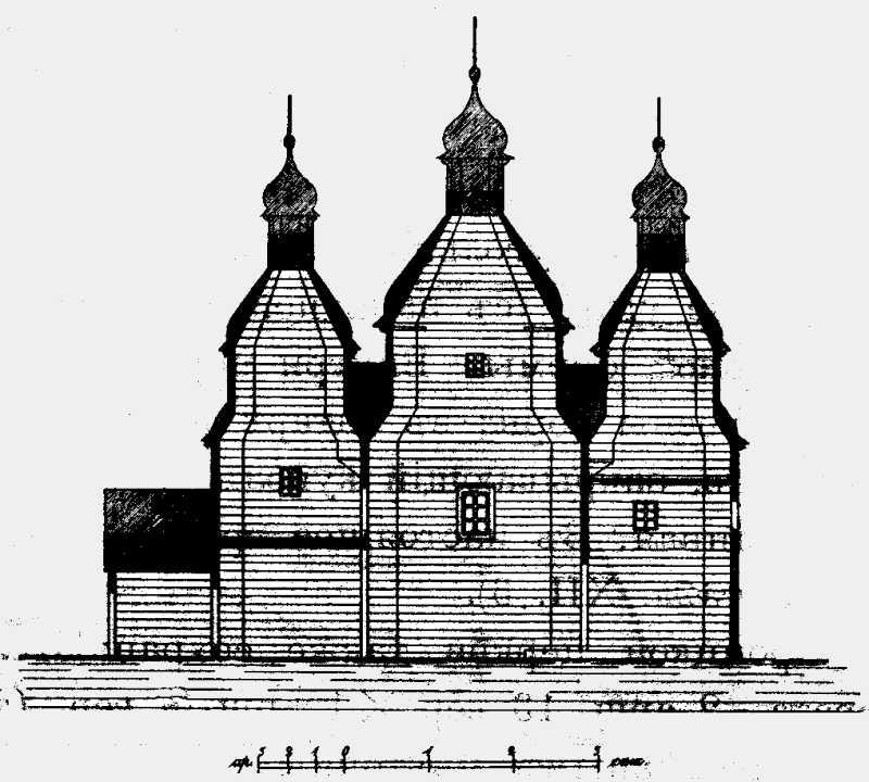 Разрез Михайловской церкви в м. Зинькове Летичевского уезда Подольской губ.