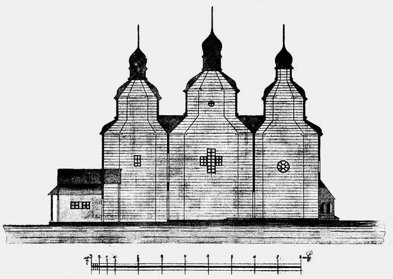 Разрез Николаевской церкви в Старой Виннице (части г.Винницы Подольской губ.)