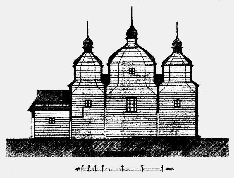 Разрез церкви Иоанна Богослова в Малых хуторах (части г.Винницы Подольской губ.)
