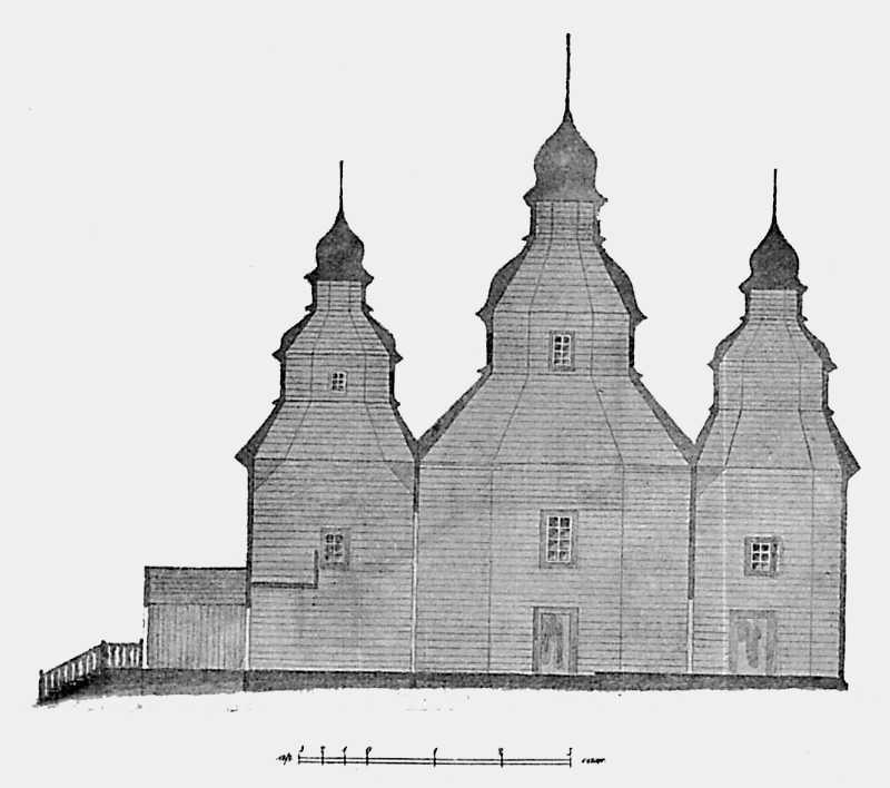 Разрез Воскресенской церкви в с. Синяве Васильковского уезда Киевской губ.