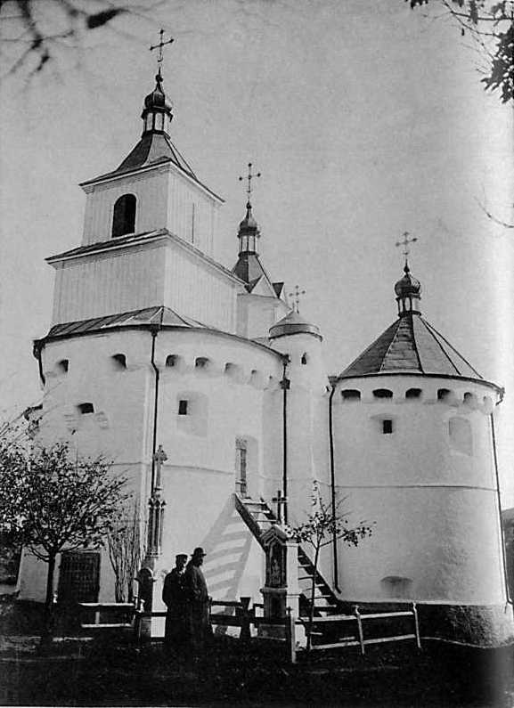 Church-castle of the Intercession in Sutkivtsi, Letychiv county of Podillja province. View from the south-west