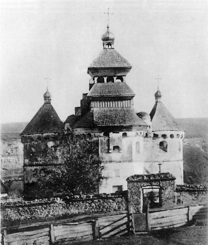 Church-castle of the Intercession in Sutkivtsi, Letychiv county of Podillja province. View from the west before to repair in late 19 cent.