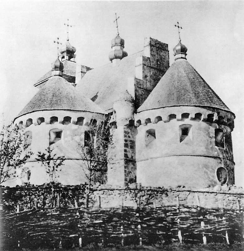Church-castle of the Intercession in Sutkivtsi, Letychiv county of Podillja province. View from the south-east before to repair in late 19 cent.