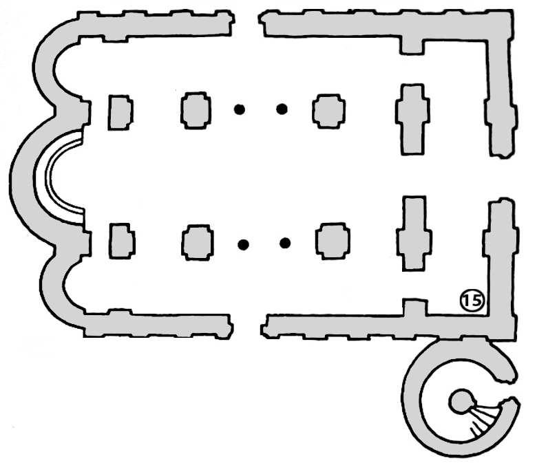 Чернігів. Спасо-Преображенський собор. План нижньої частини собору з позначенням розташування фрагмента фрески, що зберігся у нартексі під північною частиною хорів (№ 15).