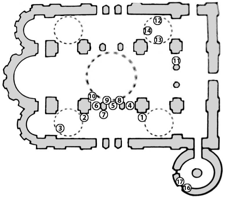 Чернігів. Спасо-Преображенський собор. План собору на рівні хорів з позначенням місця, на якому знаходилася фреска св. Теклі (№ 1), а також місць розташування фрагментів фресок, що збереглися у північно-східній малій бані.