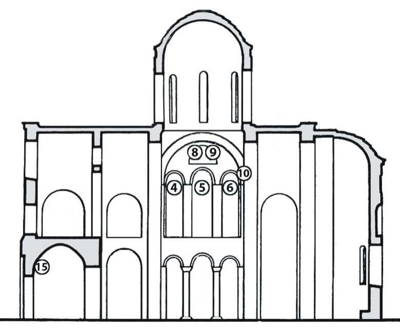 Чернігів. Спасо-Преображенський собор. Розріз собору по центральній наві з позначенням місць розташування фрагментів фресок, що збереглися в арках північної частини хорів (№ 4 – 6, 8, 9), на щоці східної попружної арки центральної бані (№ 10) та у нартексі під північною частиною хорів (№ 15).