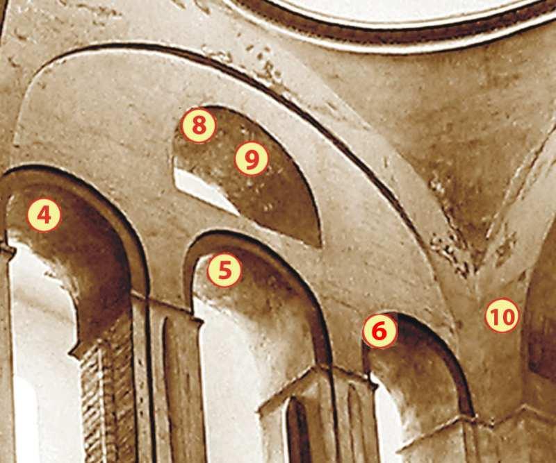 Чернігів. Спасо-Преображенський собор. Центральний підбанний простір з позначенням місць розташування фрагментів фресок у аркаді північної частини хорів та на щоці східної попружної арки (№ 4 – 6, 8 – 10) до їх розчистки від пізніших нашарувань.