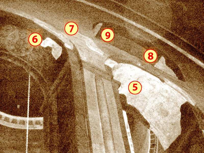 Чернігів. Спасо-Преображенський собор. Північна нава з позначенням місць розташування фрагментів фресок у аркаді хорів (у середній, східній та верхній арках № 5 – 9), після їх розчистки.