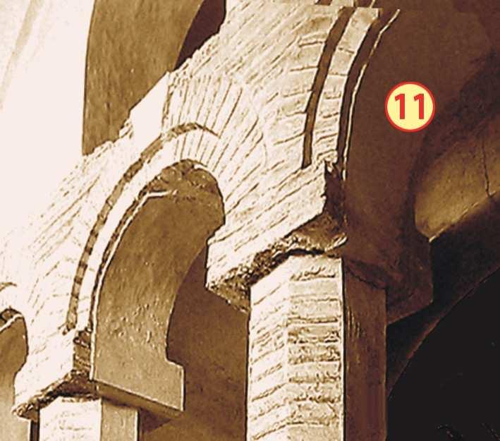 Чернігів. Спасо-Преображенський собор. Аркада західної частини хорів з позначенням місця розташування фрагмента фрески у південній арці (№ 11) до його розчистки від пізніших нашарувань.