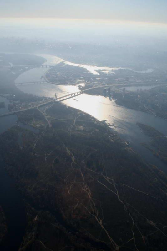 Вид на долину Днепра с самолета