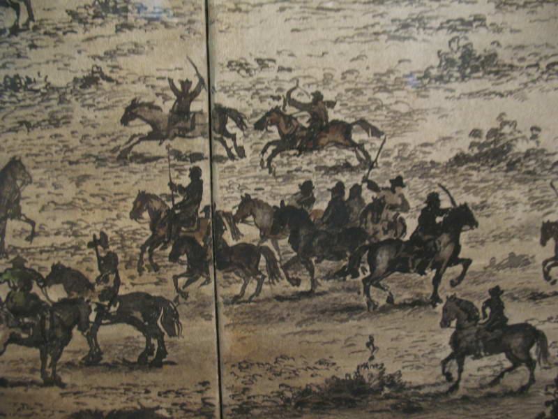 Detail of battle of cavalry troops,…