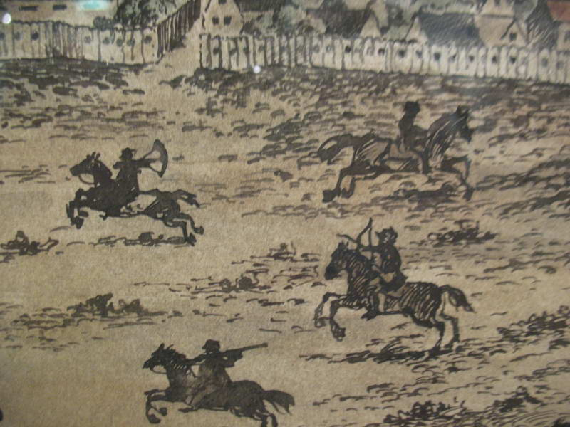 Detail of battle of cavalry troops, 1651