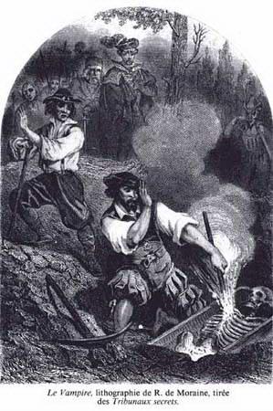 Вампір. Літографія Луї-П'єра-Рене де Морена з книги Поля Ферваля «Секретні судилища» (1851)