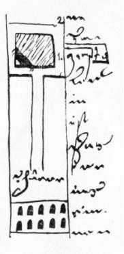 Схематичний план частини печер. Рис. М.Груневега 1584 р. [E]